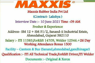 ITI Job Recruitment Maxxis Rubber India Pvt Ltd Tyre manufacturing company Sanand, Gujarat | Walk in Interview