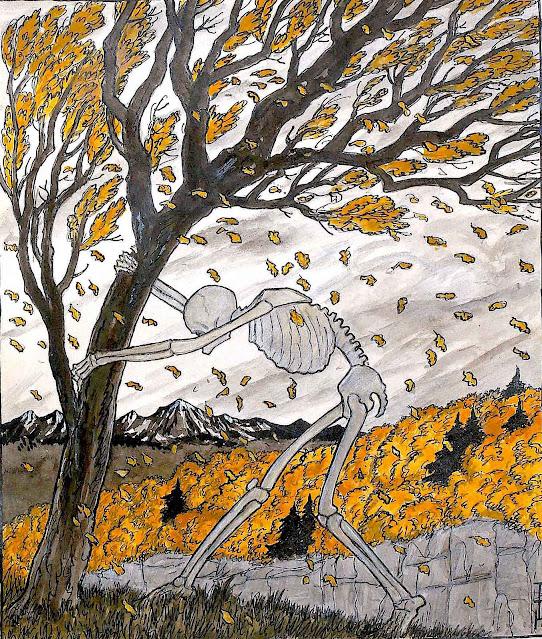 Thomas Theodor Heine, a skeleton in the autumn wind