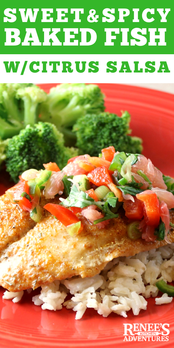 Sweet & Spicy Baked Fish with Citrus Salsa pin for Pinterest