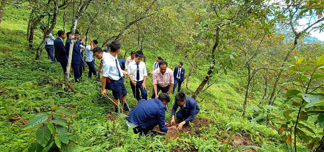 Afforestation camp by Saraswati Higher Secondary School Mungpoo