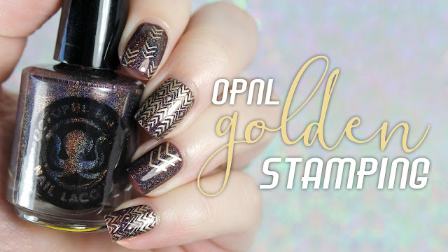 Octopus Party Nail Lacquer Prey For Me +  Powder Perfect Golden Stamping
