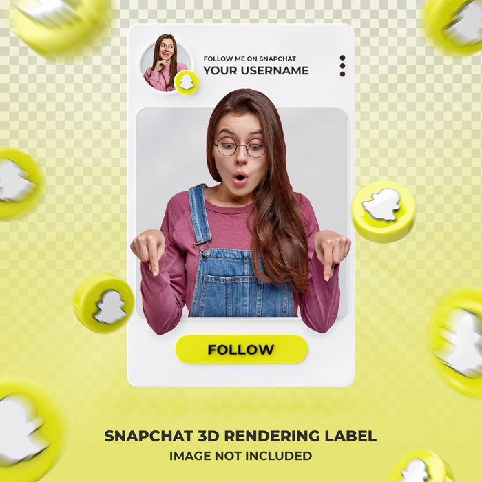 Banner Icon Profile Snapchat-3D Rendering Label Template