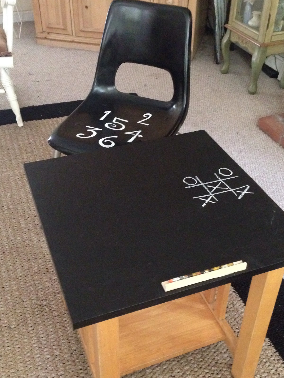 Child's Chalkboard Desk & Chair Close Up