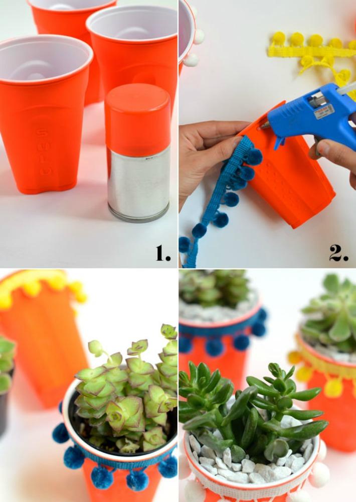 Decoraci n f cil diy macetas para suculentas con vasos de - Decorar vasos plasticos para cumpleanos ...