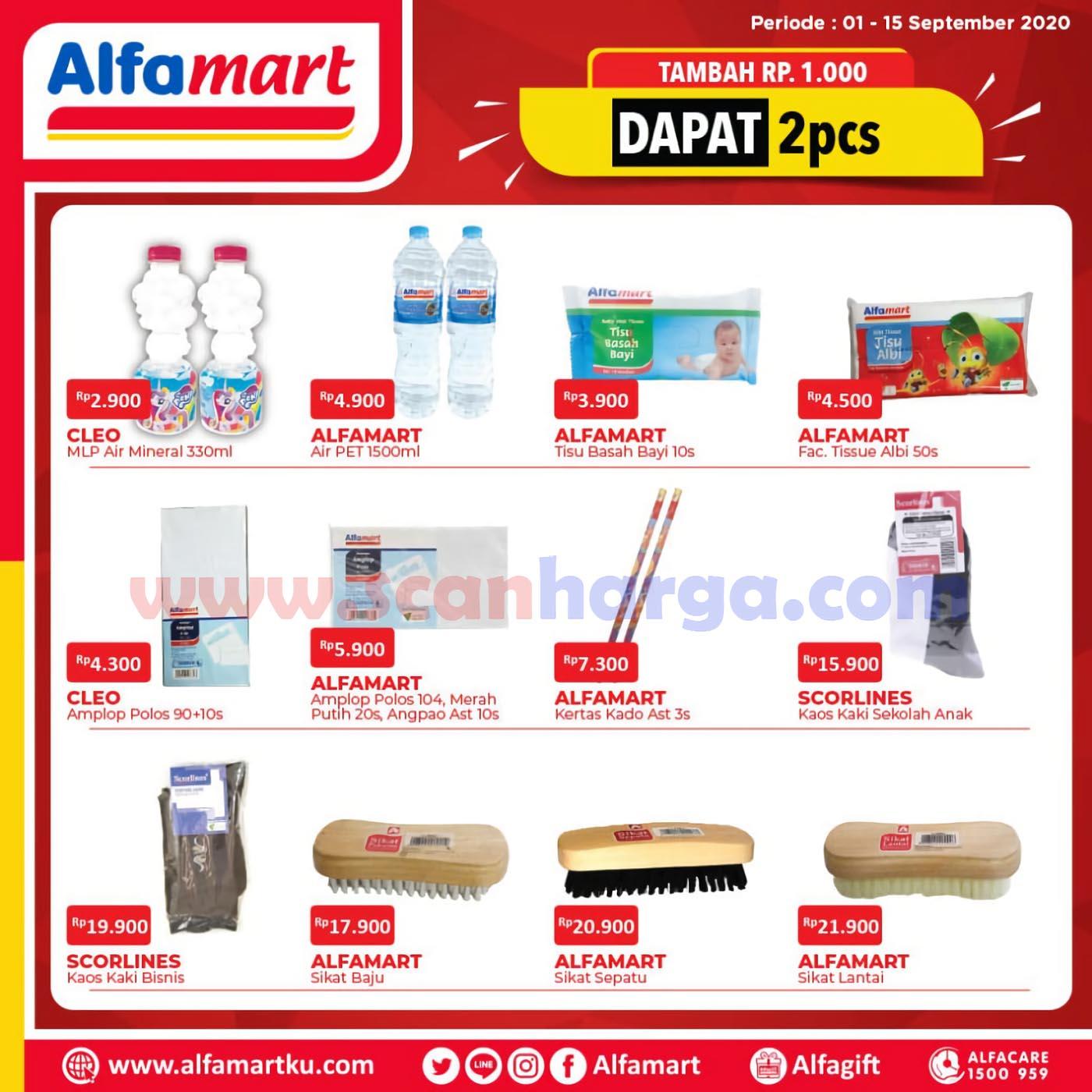 Alfamart Promo Tambah Rp +1.000 Dapat 2 Pcs Periode 1 - 15 September 2020
