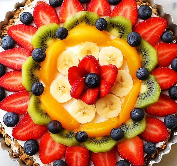 Healthy Breakfast Fruit Pizza Recipe #healthy #oatmeal