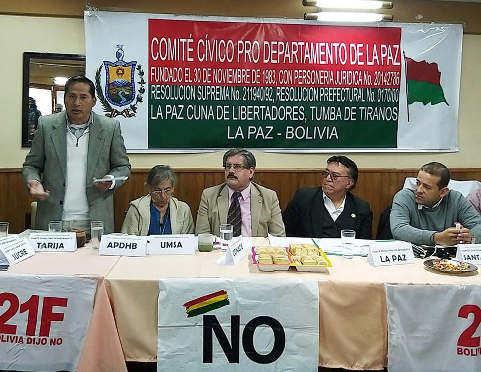 La oposición boliviana se reunió en La Paz este martes para definir paro nacional el 10 de octubre / FACEBOOK OSCAR HENRY ROJAS