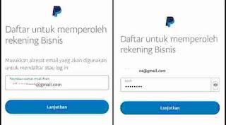 Masukkan alamat email dan password paypall