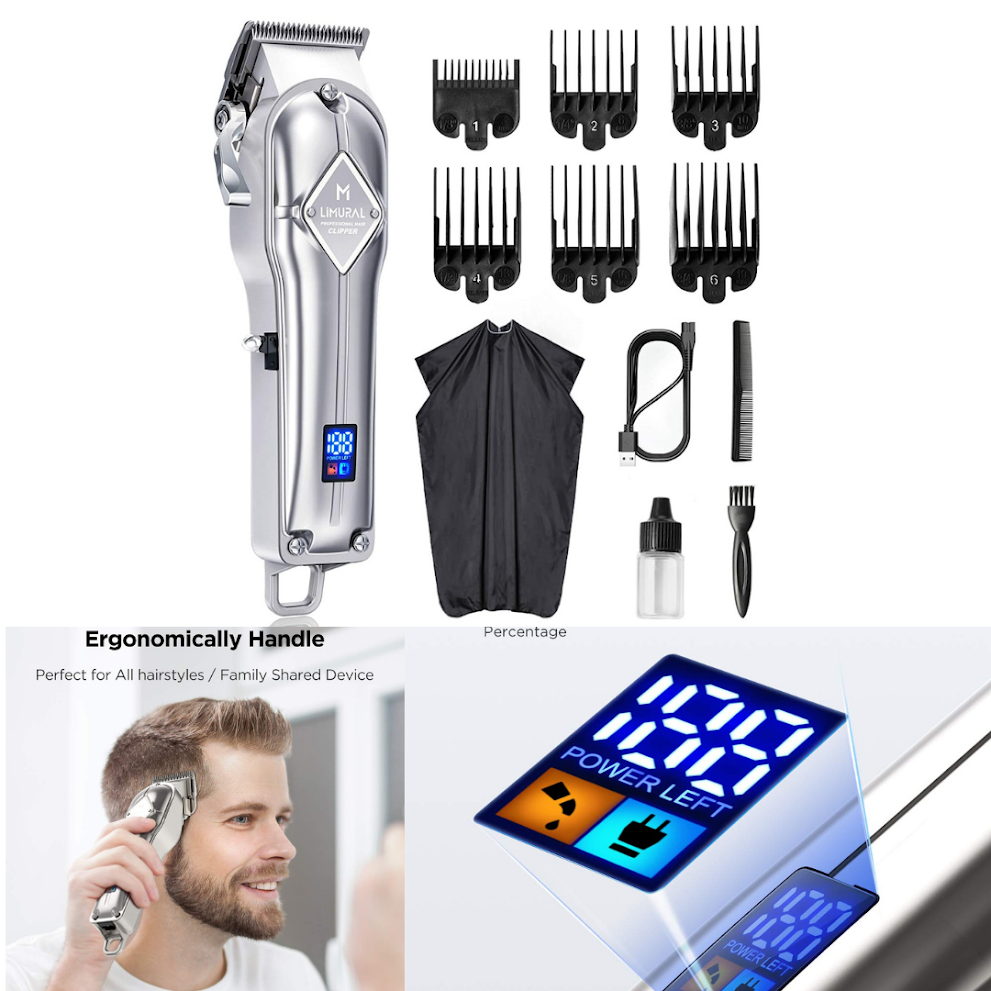 Li mural hair clippers for men professional cordless | for hair Cutting Beard Trimmer | ( LED Display, Silver )