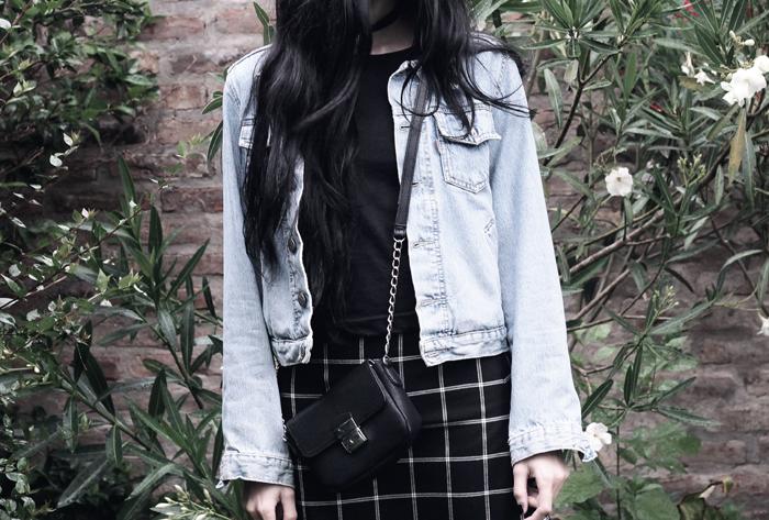 outfit, denim, jacket, grid, skirt, blogger, argentina, jenn potter, jenn ann, grunge, gothic, strange souls