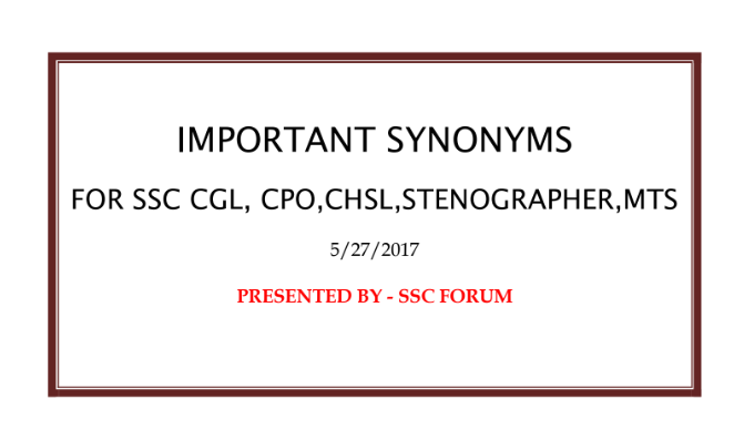 Important Synonyms for SSC Exams English l Download PDF - Knowledge