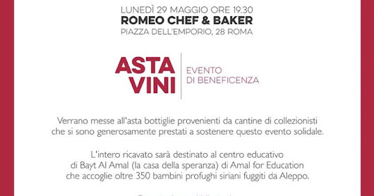 Da Romeo Chef & Baker per l'asta di vini per beneficenza per AMAL for Education