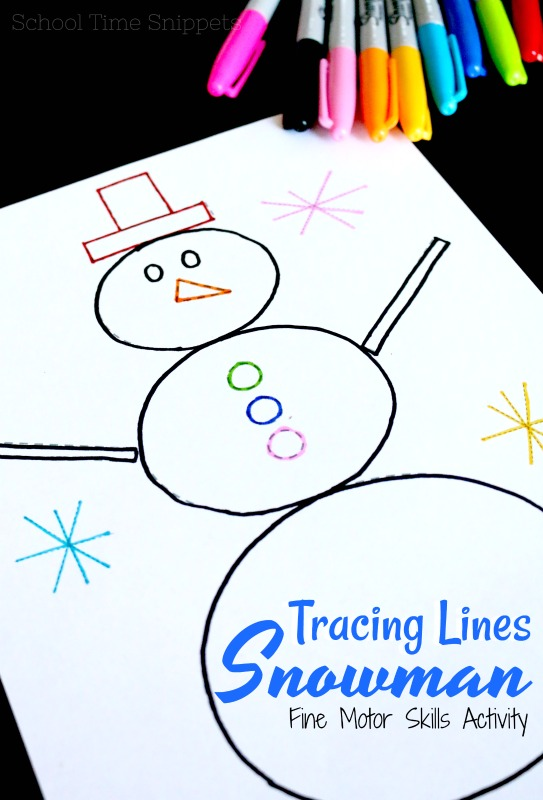 tracing lines snowman printable activity