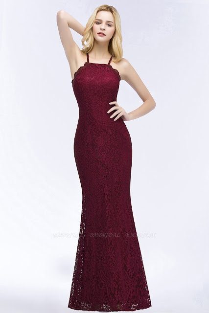 Mermaid Lace Burgundy Bridesmaid Dress