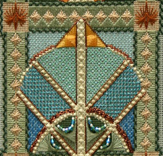 canvas work embroidery in an art nouveau style, round shape with a triangular at the top within a square