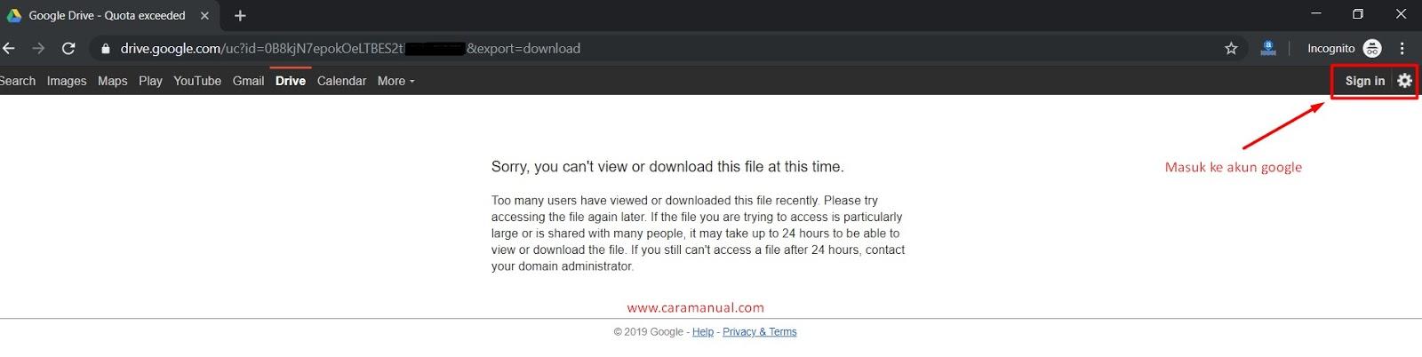 tidak bisa melihat dan mendownload file google drive