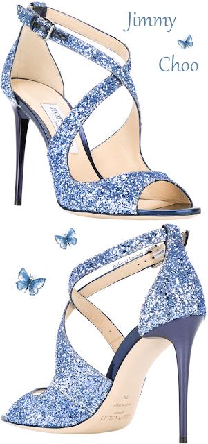 Blue sparkling Jimmy Choo Emily high heel cross strap sandal #brilliantluxury