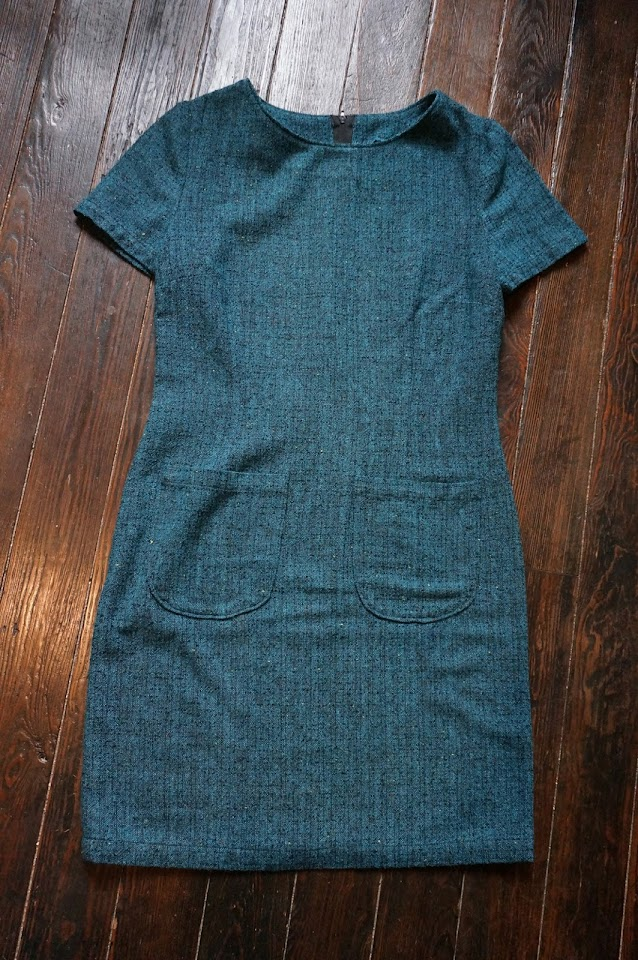 tweed turquoise mini dress robe