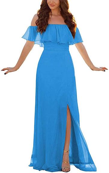 Luxurious Beautiful Blue Chiffon Bridesmaid Dresses