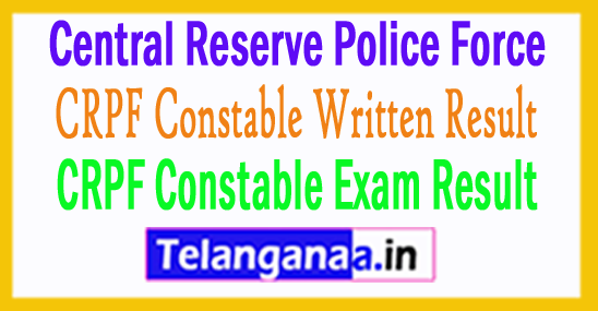 CRPF Constable Result 2018 Written Exam Score Card
