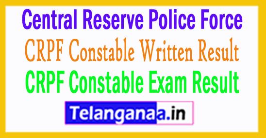 CRPF Constable Result 2017 Written Exam Score Card