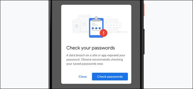 إشعار Chrome عند استخدام كلمة مرور مسربة على هاتف ذكي.