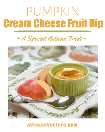 Pumpkin-Cream Cheese Fruit Dip, more pumpkin fun ♥ AVeggieVenture.com. Just four ingredients and ten minutes.