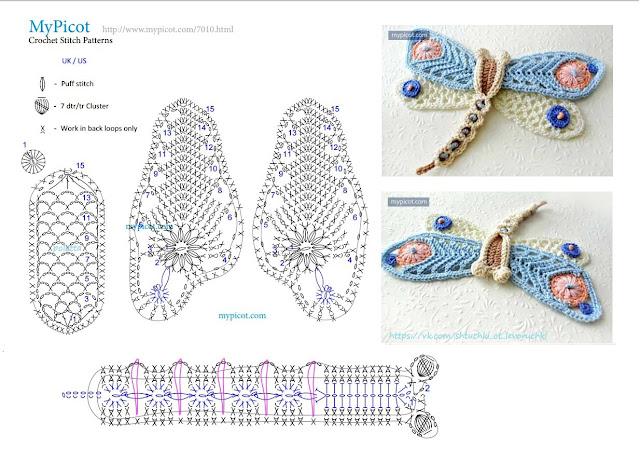 libélula de crochê com gráfico