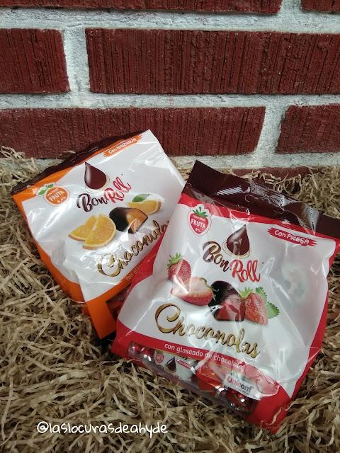 Choconolas de Bon Roll, golosina de fruta cubierta de chocolate