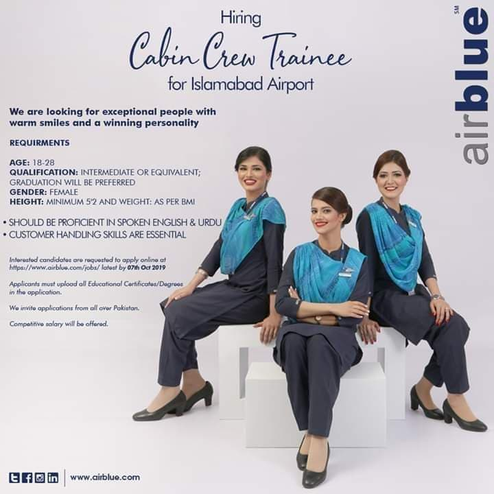 Air Blue Jobs 2019 - Cabin Crew Trainee For Islamabad Airport