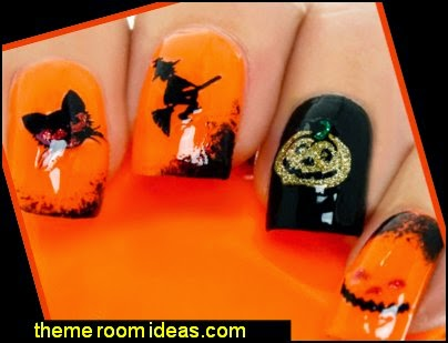 Halloween Nail Art Wraps Glitter Stickers Decals Skulls Ghost Pumpkin Bats Witch