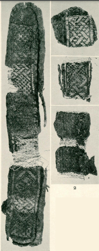 Black and white photographs of several sections of a brocaded tablet woven band from the Viking cemetery at Birka in Sweden