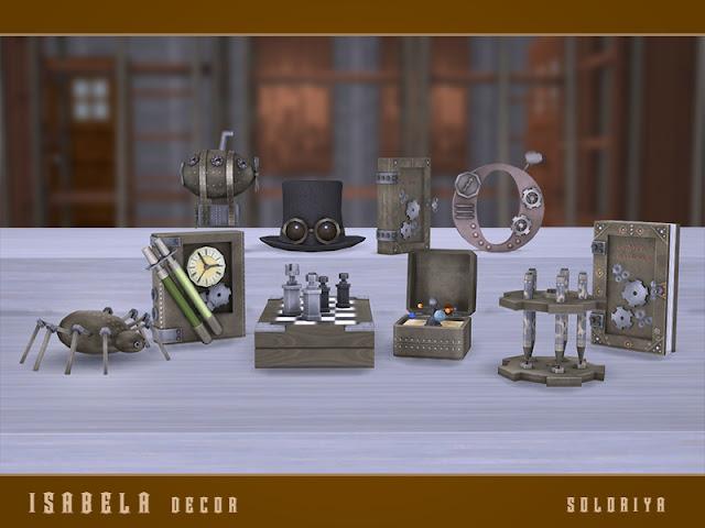 Isabela Decor set Изабел декор для The Sims 4 Набор декоративных предметов для вашего стимпанка или промышленного дома. Включает 9 декоративных предметов, имеет 3 цветовые палитры. Предметы в наборе: - дирижабль - шапка с очками - буква О - коробка orrery - паук - декоративные шахматы - держатель ручки - Часы - книга Автор: soloriya