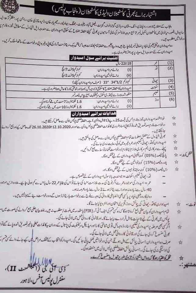 Punjab Police Constable Jobs 2020 June Application Form
