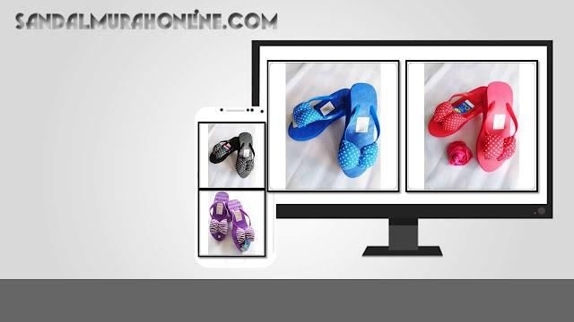 Distributor Sandal Hak Tinggi Spon Murah Orin Pita Polkadot