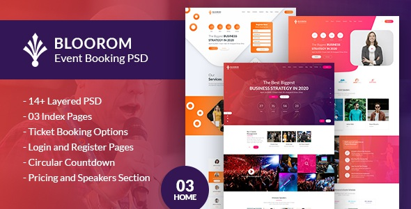 Event booking PSD template
