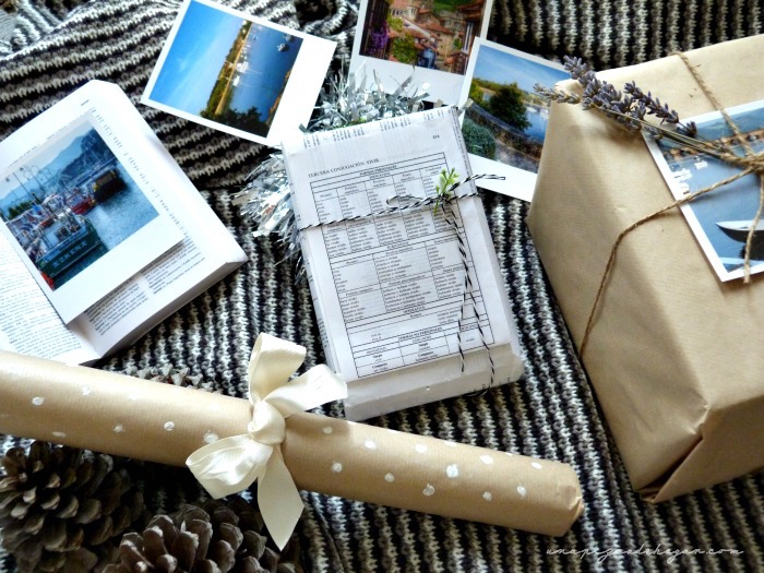 regalos bonitos con materiales de ir por casa. Kraft, cintas, un diccionario, lavanda,