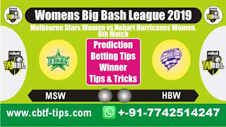 Who will win Today, WBBL T20 2019, 6th Match HBW vs MSW