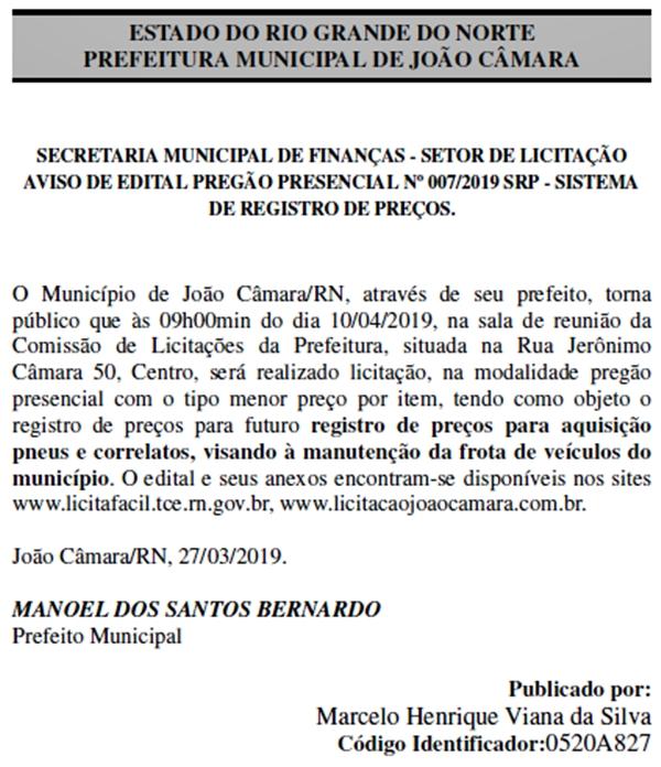 Prefeito de João Câmara torna público registro de preços para aquisição de pneus e correlatos para manutenção da frota de veículos do município