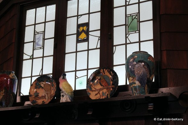 Mock leadlight windows add to the decor at The Shingle Inn