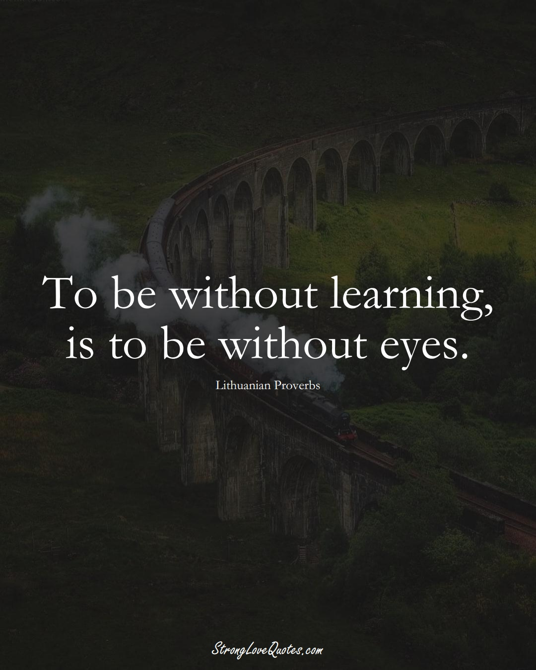 To be without learning, is to be without eyes. (Lithuanian Sayings);  #AsianSayings