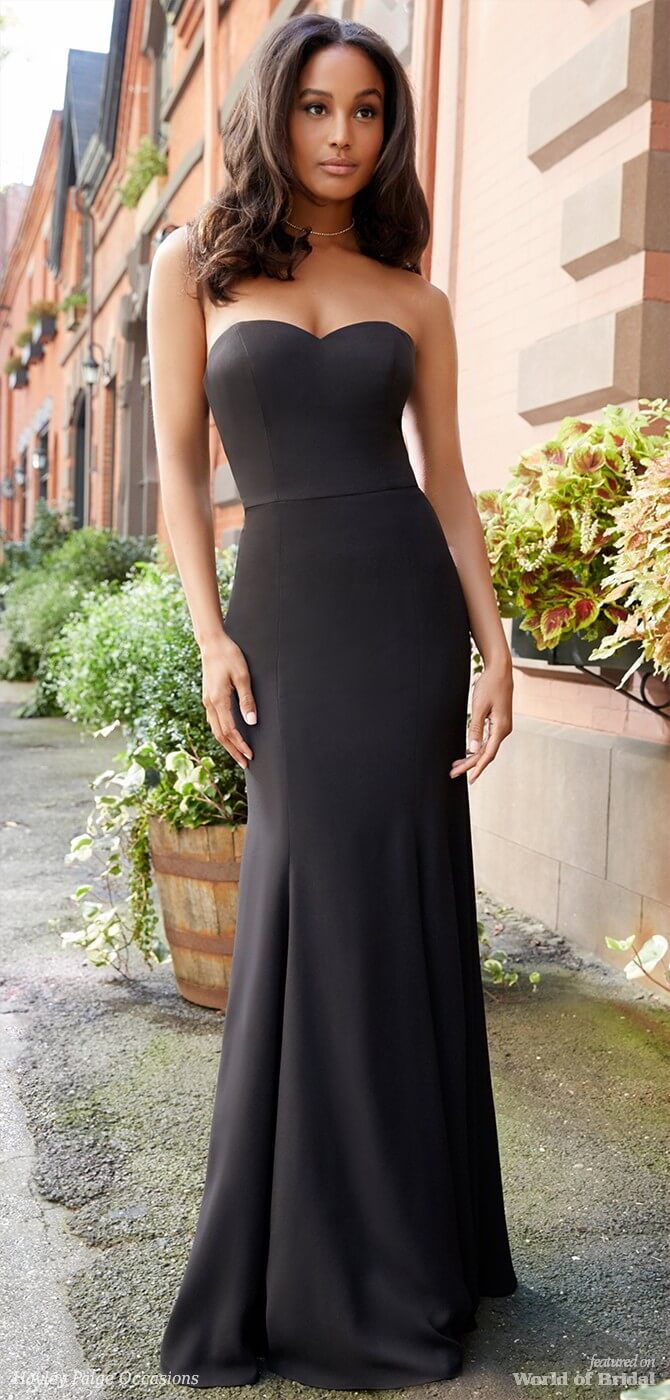 Hayley Paige Occasions Spring 2018 Black crepe strapless A-line bridesmaid gown