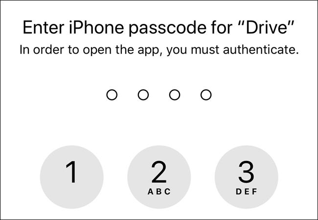 بدون أذونات ، سيستخدم Google Drive رمز مرور شاشة قفل جهازك
