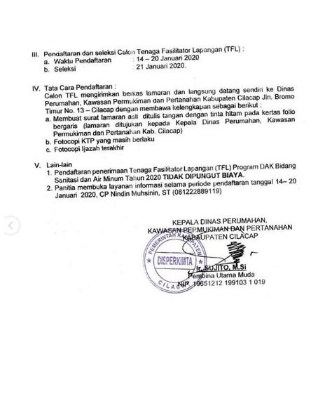 Lowongan Kerja Non PNS Dinas Perumahan Kawasan Permukiman dan Pertanahan Bulan Januari 2020