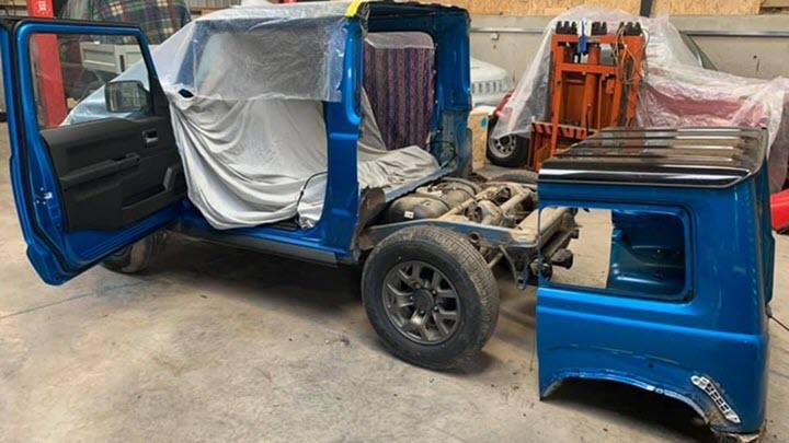 Độ SUV Suzuki Jimny thành xe bán tải dùng làm nông