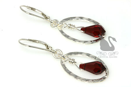 Holiday Sparkle Red Crystal Drop Hoop Earrings (EC292-R)