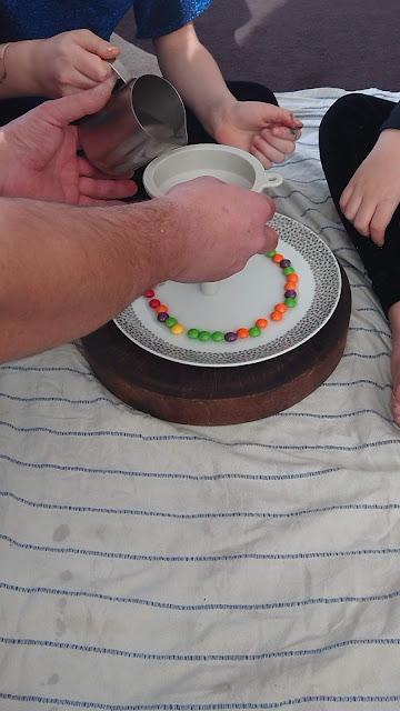Skittles rainbow experiment for kids.