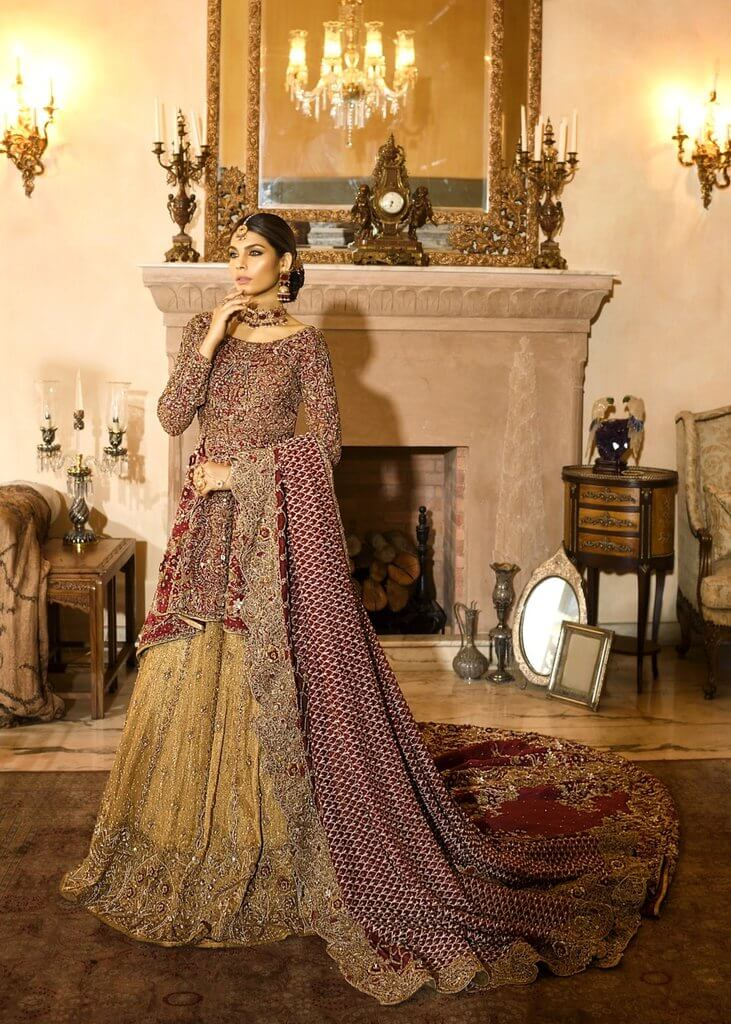 Shiza Hassan Maroon Bridal Dress for Pakistani Brides