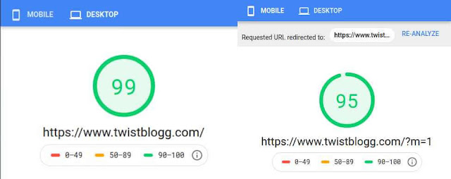 pagespeed insight 100 score