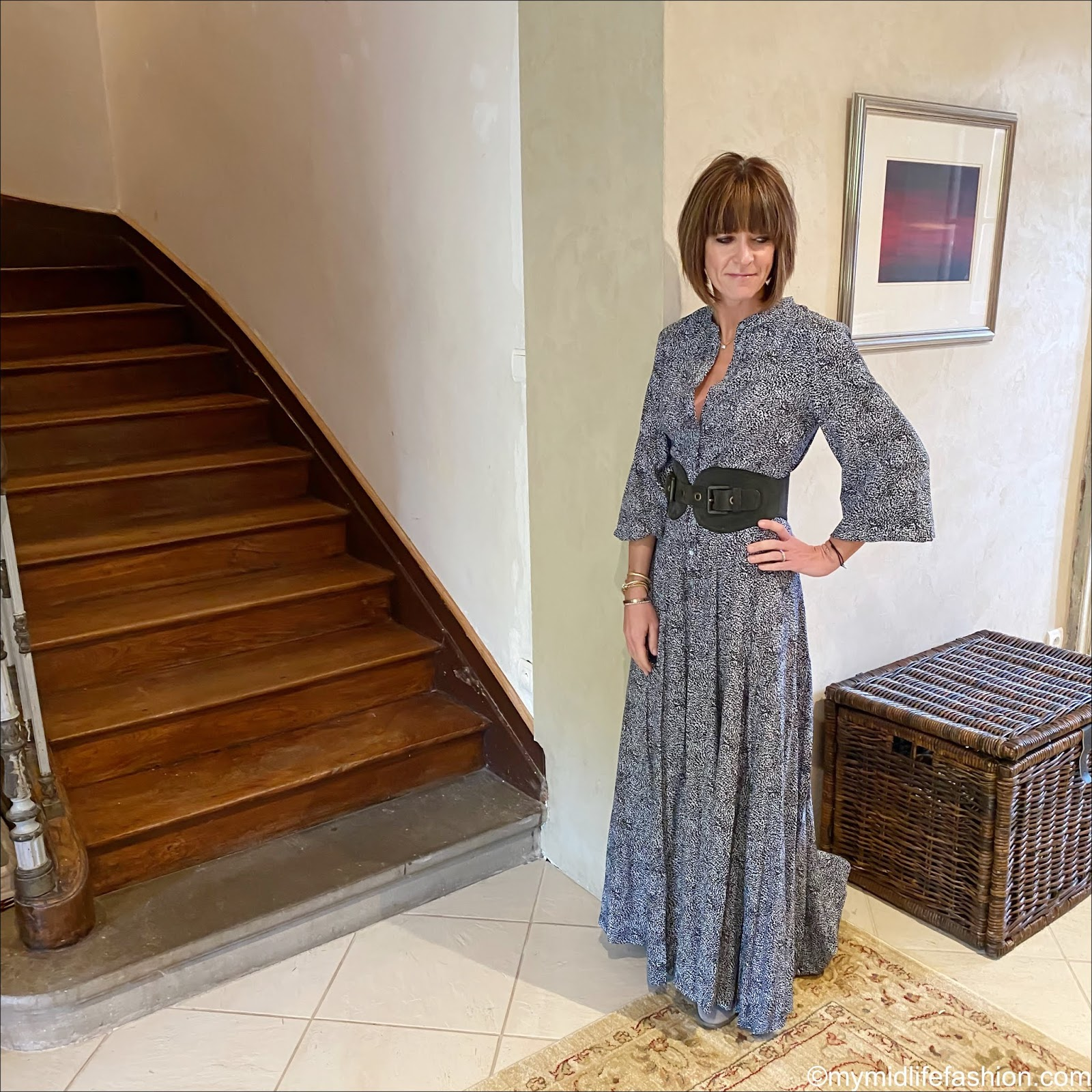 my midlife fashion, Somerset by Alice Temperley leopard print maxi dress, Ecco block heel ankle boots, mulberry suede waist belt